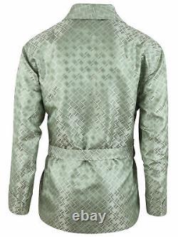 Brioni men's bathrobe dressing gown pajama robe size L 100% silk green