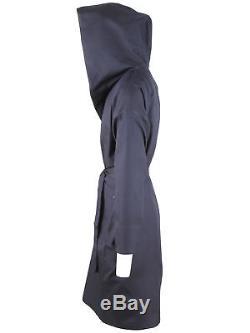 Brioni men's bathrobe dressing gown pajama robe size L 100% silk hood blue