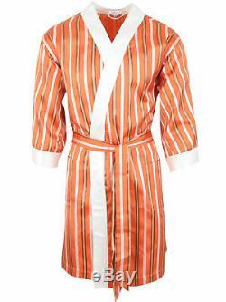 Brioni men's bathrobe dressing gown pajama robe size L 100% silk multi-color