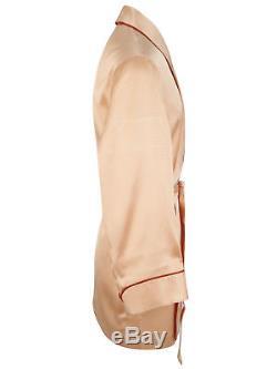 Brioni men's bathrobe dressing gown pajama robe size L 100% silk orange lacing