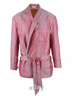 Brioni men's bathrobe dressing gown pajama robe size L 100% silk red geometric