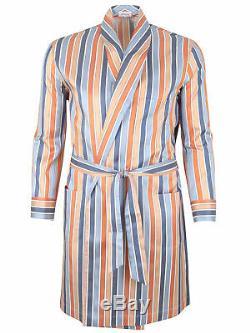 Brioni men's bathrobe dressing gown pajama robe size L 100% silk striped