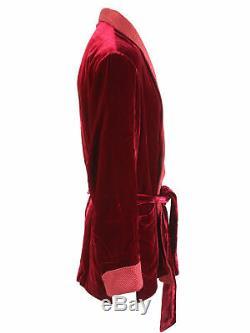 Brioni men's bathrobe dressing gown pajama robe size L viscose & silk red lacing