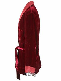 Brioni men's bathrobe dressing gown pajama robe size L viscose & silk red lacing