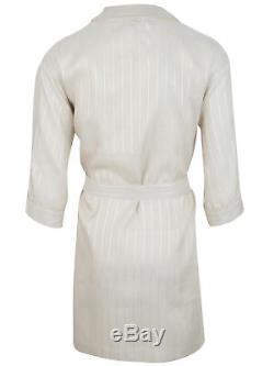 Brioni men's bathrobe dressing gown pajama robe size M 100% linen striped lacing