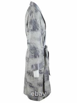 Brioni men's bathrobe dressing gown pajama robe size M wool & silk paisley gray