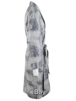 Brioni men's bathrobe dressing gown pajama robe size M wool & silk paisley grey
