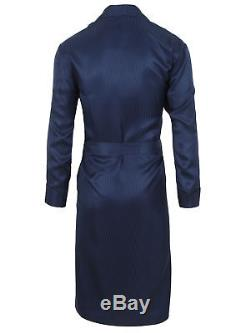 Brioni men's bathrobe dressing gown pajama robe size S 100% silk blue