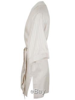 Brioni men's bathrobe dressing gown pajama size M 100% linen striped lacing