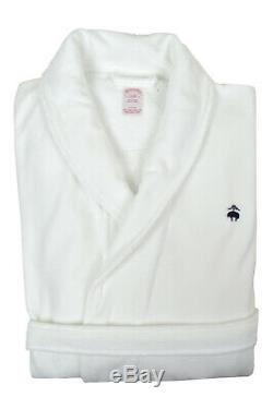 Brooks Brothers Mens White Thick Pile Cotton Belted Bath Robe Sz S/M 8483-3FBM