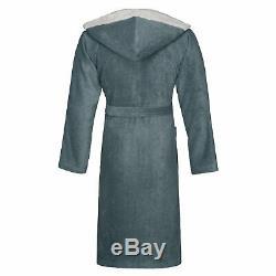 Bugatti Men's Bathrobe Sauna Coat with Hood Flannel Cotton Grey Stefano
