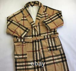 Burberry Haymarket Check Nova Towel Blanket Bath Robe Lounge Gown Free Size L