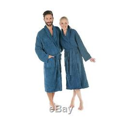 CelinaTex Terry bathrobe with shawl collar, cotton, Cotton, blue, Small
