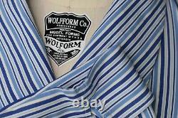 Charvet White With Light & Dark Blue Striped Made in France Mens Bath Robe XL