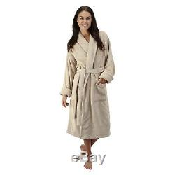 Comfy Robes Women's Deluxe 20 oz. Turkish Terry Bathrobe Beige Small/Medium
