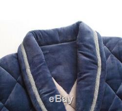 D44 Men's Winter Pleuche Pajama Fleece Bathrobe Long Sleepwear Night Robe Q