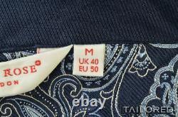 DEREK ROSE Blue Paisley 100% Silk Tasseled Belt Bath Robe UK 50 / MEDIUM