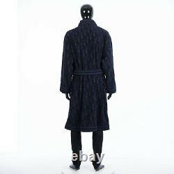 DIOR 2000$ Oblique Bathrobe In Navy Blue Cotton Terry Jacquard