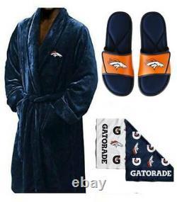 Denver Broncos L/XL Silk Touch Men's Bath Robe with Towel & Sandals (11-12)