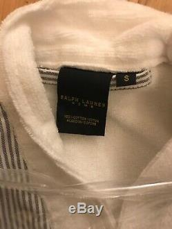 Designer Polo Ralph Lauren Home Bath Robe White Grey Black Size S RRP £199