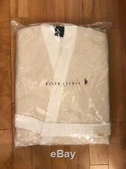 Designer Polo Ralph Lauren Home Bath Robe White Sand Beige Size L RRP £199