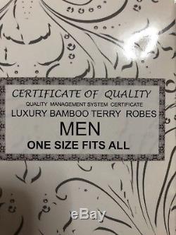 Devonshire Collection Check Trim Soft Bamboo Bathrobe Men's One Size