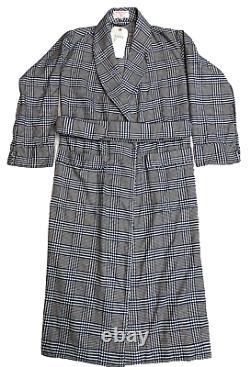 EMMA WILLIS Small Glen Check Navy Man's Gown Bath Robe Cotton England