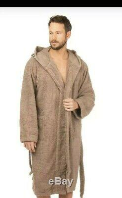 Emporio Armani Bath Robe Size L Hooded Belted Knee Length Logo Details