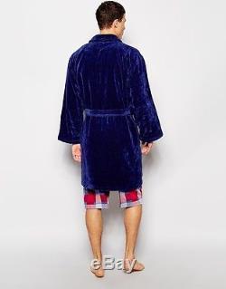 Emporio Armani Blue Bath Robe Men Uomo Bathrobe Herren Towelling Dressing 2XL