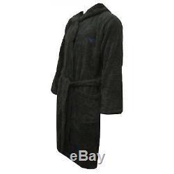 Emporio Armani Men's Jacquard Sponge Premium Hooded Bathrobe, Charcoal Grey