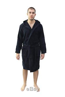 Emporio Armani Mens Eagle Logo Hooded Robe, XL, Navy