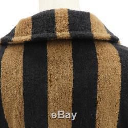 FENDI Teleria Longs Bathrobe Tops Black Brown 100% Cotton Vintage Auth #AA843 M