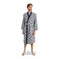 France Yves Delorme Naussica Man's Cotton Jacquard Kimono/bathrobe, Navy Color