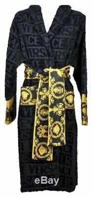 Genuine Original Versace Baroque Home Bath Robe Unisex Size XL Black Rrp £355