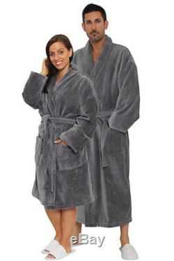 Gray Shawl Terry Robe for Men Women Full & Knee Length embroidered Bathrobe