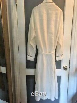 HERMES Robe Kimono belt -100% Italian Linen White chevron Navy trim Medium