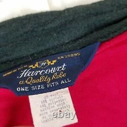 Harcourt Red & Black Velour Wrap Bath Robe Mens One Size OS Striped USA Smoking