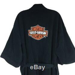 Harley Davidson Black Bathrobe Logo Motorcycle Robe