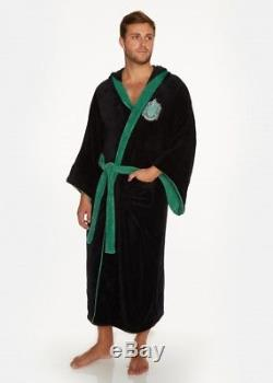 Harry Potter Slytherin Mens Bath Robe Dressing Night Gown Hood Slippers Mules