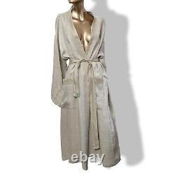 Hermes Men's Natural Linen Kimono Bath Robe, L