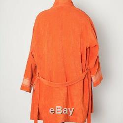 Hermes Paris Orange Terry Cotton Luxury Beach Bath Robe Mens Size S