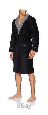 Hom Men's Geometric Bathrobe Kimono Noir (Noir/Imprimé Chevron)