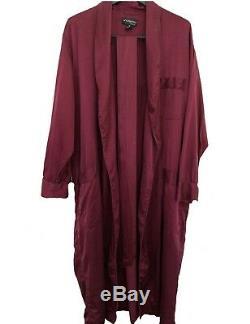 Intimo Luxe Burgundy Washed 100% Matte Silk Men's Bathrobe Robe M