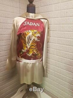 Japan Souvenir Smoking Robe Jacket Mens Silk Bathrobe Vintage WWII Era 40s 50s