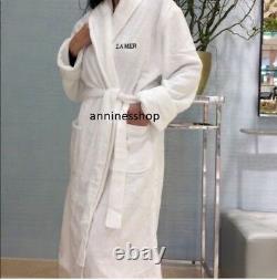 La Mer LUXURY Terry Bathrobe Plush WHITE Robe XL Women men unisex Green logo New