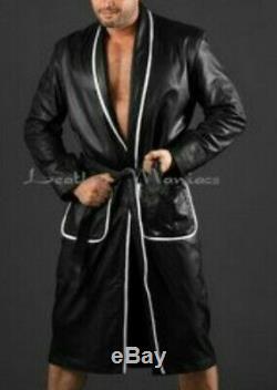 Leather Bathrobe genuine leather maniacs medium genuine fetish vgc dressing gown