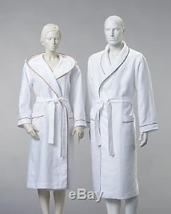 Linen Sauna and Bath Robe Men Women 100% Linen White New