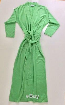 Long cashmere & silk bathrobe size M new unisex men or women green