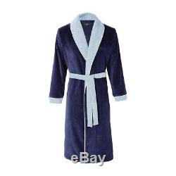 Lord Cotton Bathrobe By Hugo Boss, Shawl Collar, In Navy, Ice, Or Onyx Color