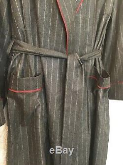 Loro Piana Mens Cashmere And Silk Bathrobe Gray Pinstriped Red Trim Tie Size XL